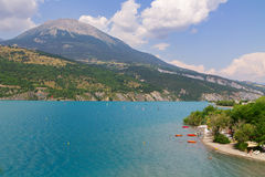 Panoramic view of the beautiful blue lago di Serre-Poncon in the Royalty Free Stock Images