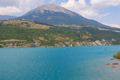 Panoramic view of the beautiful blue lago di Serre-Poncon in the Stock Image