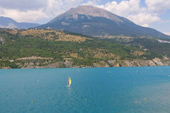 Panoramic view of the beautiful blue lago di Serre-Poncon in the Stock Photos