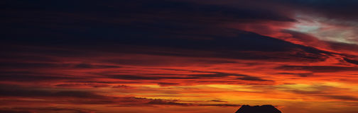 Panoramic view of a beautiful bright sunset Royalty Free Stock Image