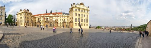 Panoramic view of the beautiful building of the residence of the President of the Czech Republic in Prague Castle. Prague, Czech Republic - May 2016: Panoramic royalty free stock image