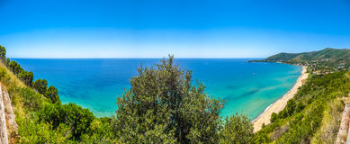 Panoramic view of beautiful coastal landscape at the Cilentan Coast, province of Salerno, Campania, southern Italy Stock Photos