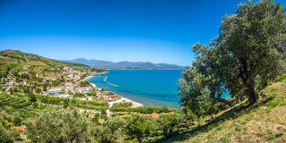 Panoramic view of beautiful coastal landscape at the Cilentan Coast, province of Salerno, Campania, southern Italy Stock Images