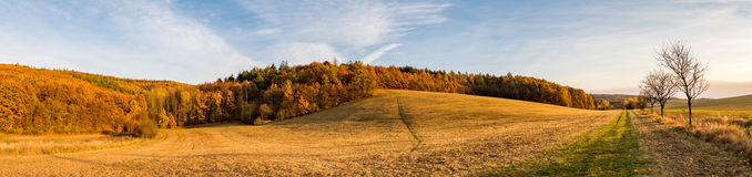 Panoramic view of beautiful colorful autumnal landscape Royalty Free Stock Image