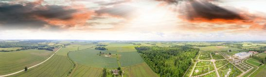 Panoramic view of beautiful countryside around Rundale at sunset royalty free stock photography