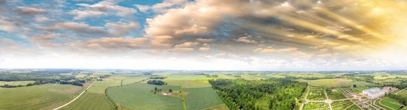 Panoramic view of beautiful countryside at sunset Royalty Free Stock Photography