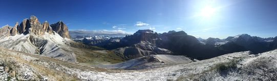 Panoramic view of beautiful dolomite mountain group in south tyrol / sassolungo group / south tyrol royalty free stock photography