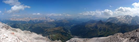 Panoramic view of beautiful dolomite mountain scenery in south tyrol Royalty Free Stock Images