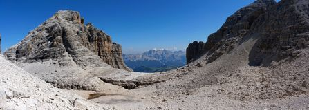 Panoramic view of beautiful dolomite mountain landscape Royalty Free Stock Photography