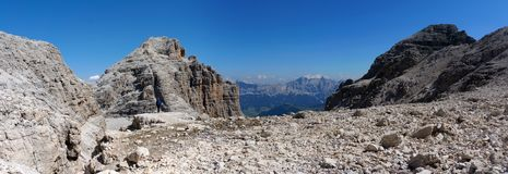 Panoramic view of beautiful and rough mountain landscape Stock Images