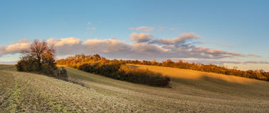 Panoramic view of beautiful evening in autumnal landscape Stock Images