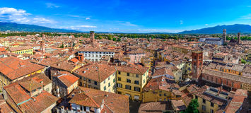 Panoramic view beautiful Italian town Luca Stock Image