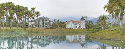 Panoramic view of beautiful lake scenery Stock Photography