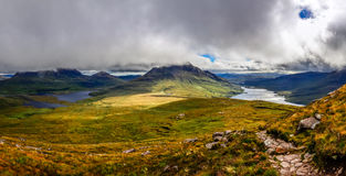 Panoramic view of beautiful lakes and clouds in Inverpolly area, Scotland stock photos