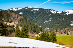 Panoramic view of beautiful landscape in the Bavarian Alps stock photo