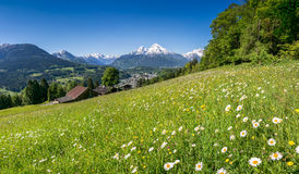 Panoramic view of beautiful landscape in the Bavarian Alps with Stock Images