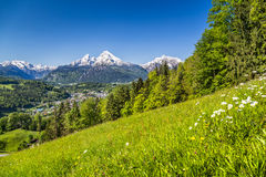 Panoramic view of beautiful landscape in the Bavarian Alps with Katzmann Royalty Free Stock Images