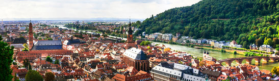 Panoramic view of beautiful medieval Heidelberg town. Germany Royalty Free Stock Photos