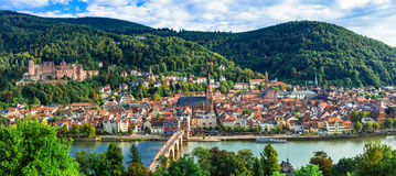 Panoramic view of beautiful medieval Heidelberg town. Germany Stock Images