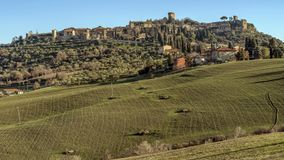Panoramic view of the beautiful medieval village of Monticchiello, Siena, Tuscany, Italy royalty free stock photo
