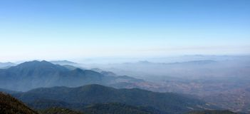 Panoramic view of beautiful mountain against blue sky at Kew Mae Pan in Doi Inthanon national park , Chiang Mai , Thailand.  Stock Photography