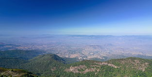 Panoramic view of beautiful mountain against blue sky at Kew Mae Pan in Doi Inthanon national park , Chiang Mai , Thailand.  Royalty Free Stock Images