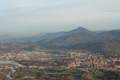 Panoramic view on beautiful mountain la rhune on atlantic coast in sunset, basque country, france Royalty Free Stock Photography