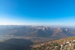 Panoramic view of beautiful mountain landscape stock images