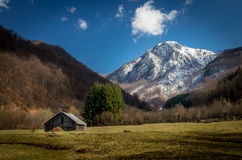 Panoramic view of beautiful mountain landscape in spring royalty free stock photography