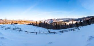 Panoramic view of beautiful mountain village stock photography