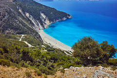 Panoramic View of beautiful Myrtos beach, Kefalonia Stock Image