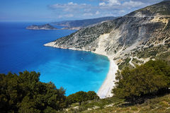Panoramic View of beautiful Myrtos beach, Kefalonia Stock Photography
