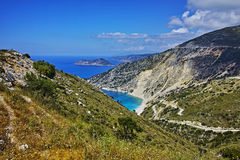 Panoramic View of beautiful Myrtos beach, Kefalonia Stock Images