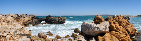 Panoramic view of beautiful rocky beach. Stock Photos