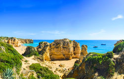 Panoramic view of beautiful sandy beach Pria do Castelo, algarve, Portugal royalty free stock image