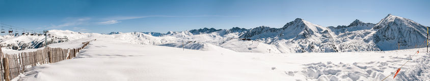 Panoramic view of beautiful snowy mountains in a sky station Stock Image