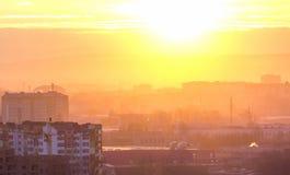 Panoramic view of beautiful sunset over Ivano-Frankivsk city, Ukraine Royalty Free Stock Image