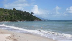 Panoramic view of a beautiful tropical beach on the island of Koh Samui. slow motion. 3840x2160. Panoramic view of a beautiful tropical beach stock footage