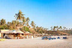 Panoramic view of beautiful tropical beach Vagator. Panoramic view of beautiful tropical Vagator beach, Goa, India royalty free stock photo