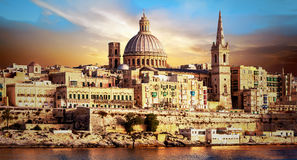 Panoramic view of beautiful Valletta over sunset . Malta Stock Photography