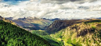 Panoramic view of beautiful valley near Queenston, New Zealand stock photography
