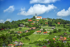 Panoramic view at beautiful village in Slovenia Royalty Free Stock Photos