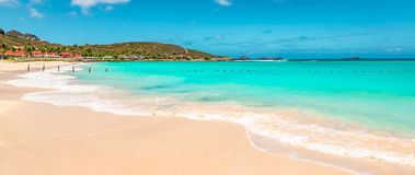 Panoramic view of beautiful white sandy beach in St Barts  Saint Barthelemy, Caribbean. Turquoise blue sea, white sand beach, blue sky. Panorama landscape of stock photography