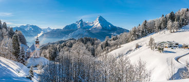 Panoramic view of beautiful winter landscape in the Bavarian Alp Stock Photo