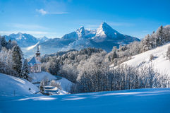 Panoramic view of beautiful winter landscape in the Bavarian Alps Stock Images