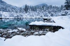 Beautiful winter scenery on pure lake Zelenci in cloudy sunrise, Kranjska Gora, Slovenia Royalty Free Stock Image