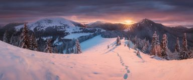 Panoramic view of beautiful winter wonderland mountain scenery in evening light at sunset. Mountains above the clouds. Christmas royalty free stock photo