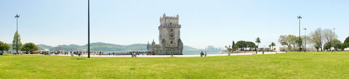 Panoramic view of  Belem Tower, Lisbon, Portugal, Europe Royalty Free Stock Photo