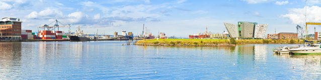 Panoramic view of the Belfast`s harbour with the museum of the h. Istory of the Titanic Ireland royalty free stock images