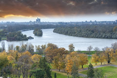 Panoramic view of Belgrade from Kalemegdan fortress Royalty Free Stock Photography
